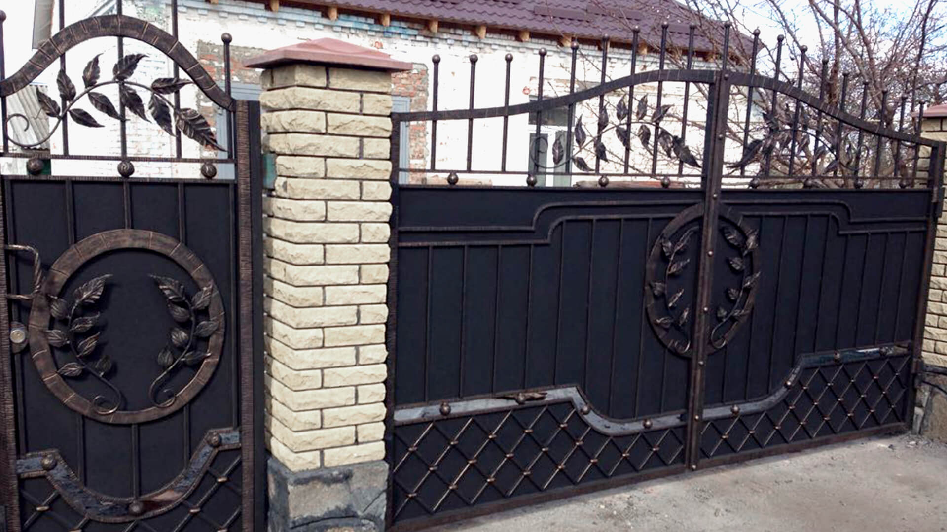 Откатные, распашные - Кованые ворота КВ-2 изготовление, доставка и установка кованых ворот, Киев, Украина