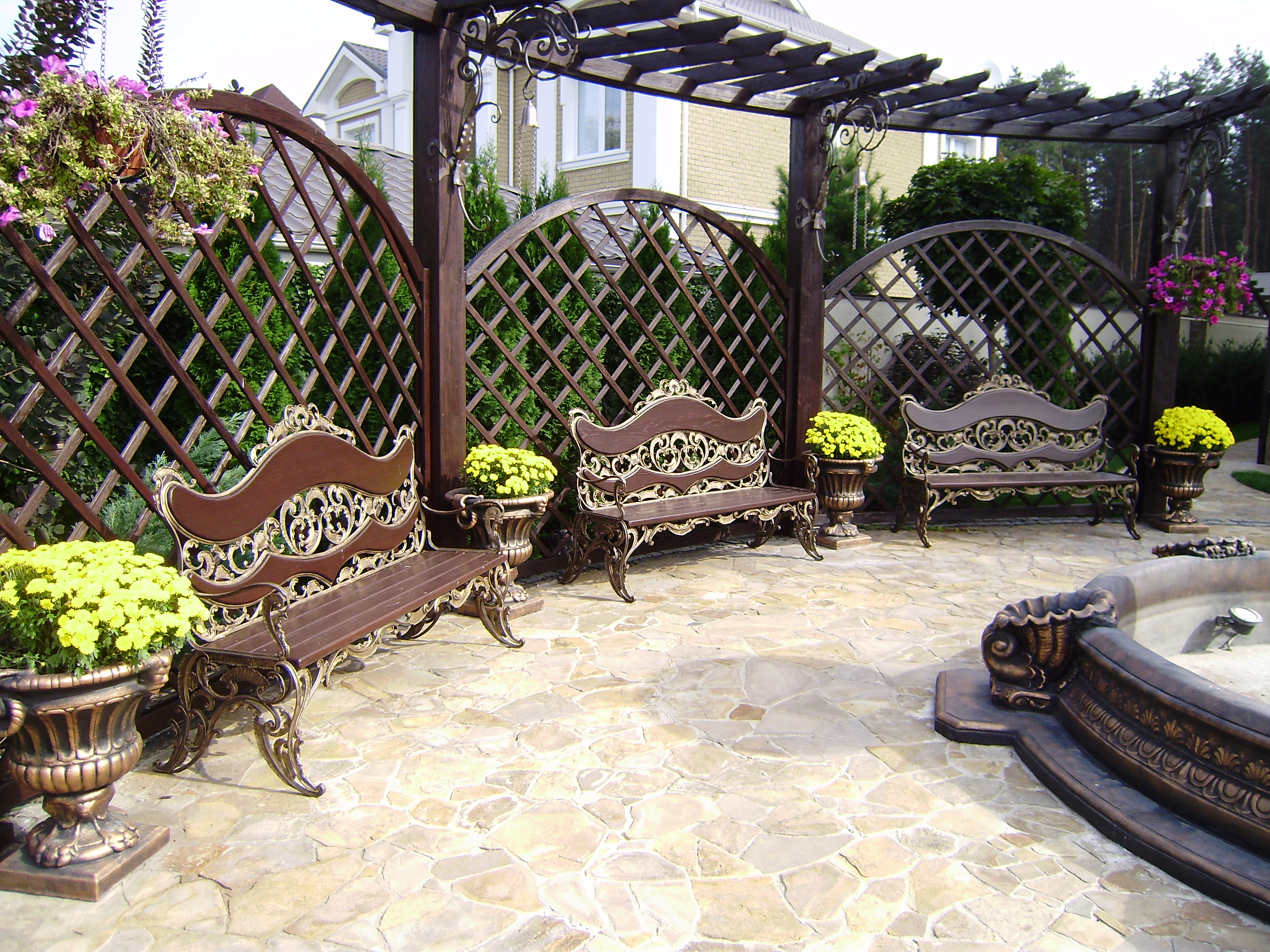 Кованая садовая лавка, барокко