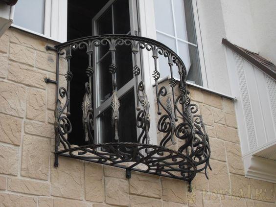 Красивый Кованый балкон КБ-8 фото, французский балкон, Украина