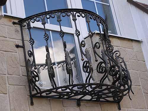 Красивый Кованый балкон КБ-8 фото, французский балкон, Украина, Киев